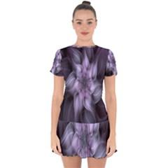 Fractal Flower Lavender Art Drop Hem Mini Chiffon Dress