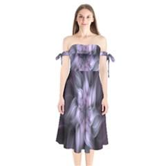 Fractal Flower Lavender Art Shoulder Tie Bardot Midi Dress