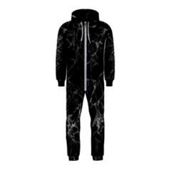 Black Texture Background Stone Hooded Jumpsuit (kids)