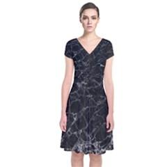 Black Texture Background Stone Short Sleeve Front Wrap Dress