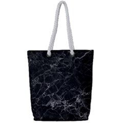Black Texture Background Stone Full Print Rope Handle Bag (small)