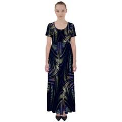 Fractal Braids Texture Pattern High Waist Short Sleeve Maxi Dress