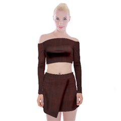 Grunge Brown Abstract Texture Off Shoulder Top With Mini Skirt Set