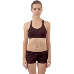 Grunge Brown Abstract Texture Back Web Sports Bra Set