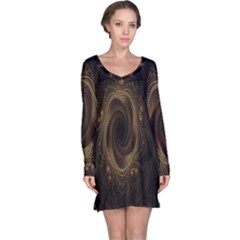 Beads Fractal Abstract Pattern Long Sleeve Nightdress