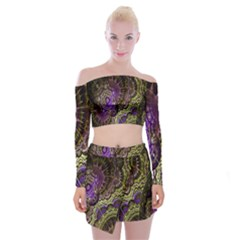 Abstract Fractal Art Design Off Shoulder Top With Mini Skirt Set