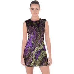 Abstract Fractal Art Design Lace Up Front Bodycon Dress
