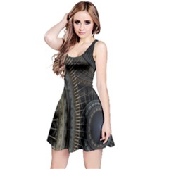 Fractal Spikes Gears Abstract Reversible Sleeveless Dress