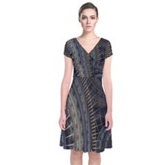 Fractal Spikes Gears Abstract Short Sleeve Front Wrap Dress
