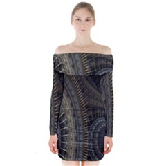 Fractal Spikes Gears Abstract Long Sleeve Off Shoulder Dress