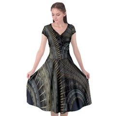 Fractal Spikes Gears Abstract Cap Sleeve Wrap Front Dress