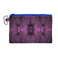 Fractal Magenta Pattern Geometry Canvas Cosmetic Bag (large)