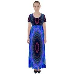 Cosmic Flower Kaleidoscope Art High Waist Short Sleeve Maxi Dress