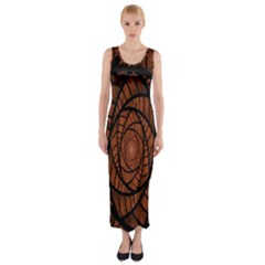 Fractal Red Brown Glass Fantasy Fitted Maxi Dress