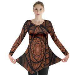 Fractal Red Brown Glass Fantasy Long Sleeve Tunic