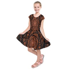 Fractal Red Brown Glass Fantasy Kids  Short Sleeve Dress