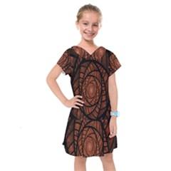 Fractal Red Brown Glass Fantasy Kids  Drop Waist Dress