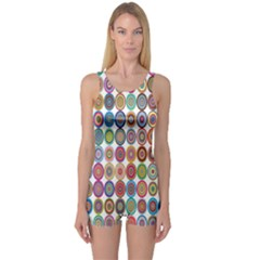 Decorative Ornamental Concentric One Piece Boyleg Swimsuit