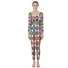 Decorative Ornamental Concentric Long Sleeve Catsuit