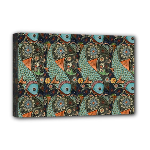Pattern Background Fish Wallpaper Deluxe Canvas 18  X 12