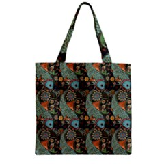 Pattern Background Fish Wallpaper Zipper Grocery Tote Bag