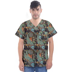 Pattern Background Fish Wallpaper Men s V Neck Scrub Top