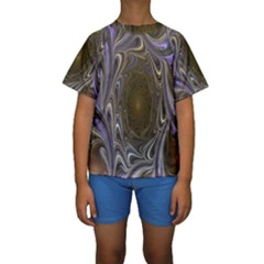 Fractal Waves Whirls Modern Kids  Short Sleeve Swimwear
