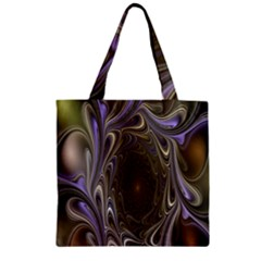 Fractal Waves Whirls Modern Zipper Grocery Tote Bag