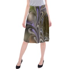 Fractal Waves Whirls Modern Midi Beach Skirt