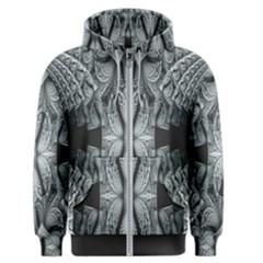 Fractal Blue Lace Texture Pattern Men s Zipper Hoodie