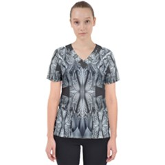 Fractal Blue Lace Texture Pattern Scrub Top