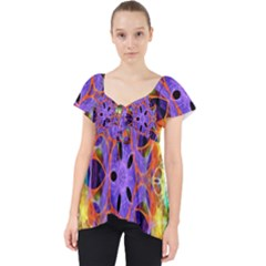 Kaleidoscope Pattern Ornament Lace Front Dolly Top
