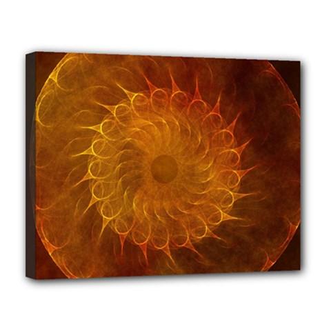 Orange Warm Hues Fractal Chaos Canvas 14  X 11