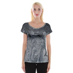 Abstract Art Decoration Design Cap Sleeve Tops
