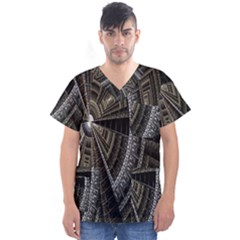 Fractal Circle Circular Geometry Men s V Neck Scrub Top