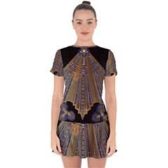 Deco Fan Drop Hem Mini Chiffon Dress