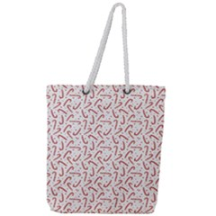 Candy Cane Full Print Rope Handle Tote (large)