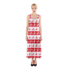 Knitted Red White Reindeers Sleeveless Maxi Dress