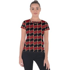 Leaves Red Black Short Sleeve Sports Top