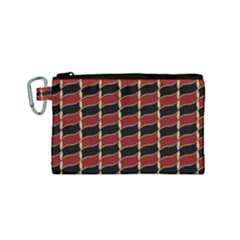 Leaves Red Black Canvas Cosmetic Bag (small)