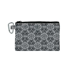 Crystals Pattern Black White Canvas Cosmetic Bag (small)