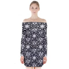 Star Crystal Black White Pattern Long Sleeve Off Shoulder Dress