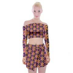 Flower Of Life Purple Gold Off Shoulder Top With Mini Skirt Set