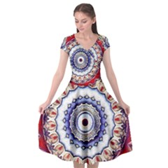 Romantic Dreams Mandala Cap Sleeve Wrap Front Dress
