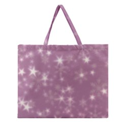 Blurry Stars Lilac Zipper Large Tote Bag