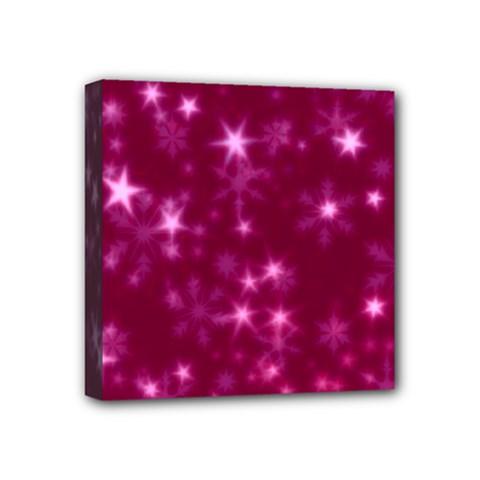 Blurry Stars Pink Mini Canvas 4  X 4