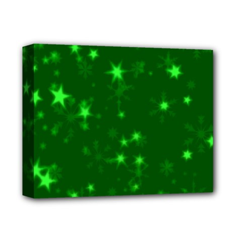Blurry Stars Green Deluxe Canvas 14  X 11