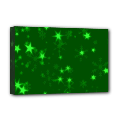 Blurry Stars Green Deluxe Canvas 18  X 12