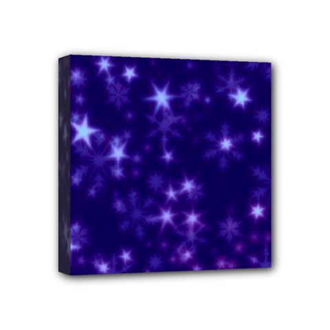 Blurry Stars Blue Mini Canvas 4  X 4