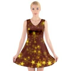 Blurry Stars Golden V Neck Sleeveless Skater Dress